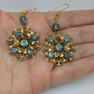 Up Cycled Vintage Drop Earrings Blue and Gold